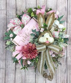 Pink Bunny Wreath Spring Wreaths for front Door Mesh Wreath Easter Projects, Easter Crafts, Easter Decor, Easter Ideas, Easter Wreaths, Christmas Wreaths, Christmas Decorations, Spring Front Door Wreaths, Spring Wreaths
