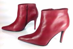 Women's Venus Red Rose Maroon Leather Fashion Pointed Toe Heels Ankle Boots Sz8M