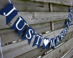 Just Married wedding banner Wedding Bunting by craftyearth Wedding Bunting, Nautical Wedding Theme, Wedding Table, Wedding Colors, Wedding Decorations, Nautical Bunting, Wedding Reception, Just Married Banner, Just Married Car