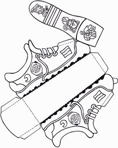 Crafts: Put on a shoe – Knippen Shoe Crafts, 3d Paper Crafts, Diy Home Crafts, Papercraft Anime, Shoe Template, Decorated Gift Bags, Paper Shoes, Kids Schedule, Disney Coloring Pages