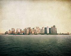 Manhattan cityscape photo, New York City skyscrapers, NYC Lower Manhattan, urban art, brown beige shabby chic urban decor on Etsy, $25.00