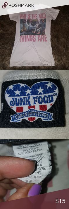 """Junk Food Graphic Tee Vintage style """"Where The Wild Things Are"""" Junk Food for Urban Outfitters t-shirt. Used, very worn and soft! Good condition for as much as it's been worn! It's super cute, runs a little small. Junk Food Clothing Tops Tees - Short Sleeve"""