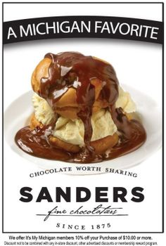Yum! Sanders hot fudge cream puff sundae. There use to be a Sanders within walking distance of the house I grew up in. I remember what a treat it was on those hot humid summer days to stop in and get one with my parents.