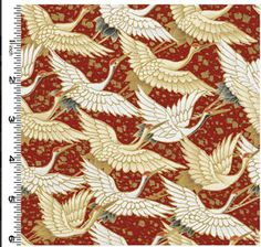 Kona Bay - Graceful Beauty Cranes Flying - Brick Red :