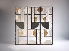 Art Deco Period Influences in Contemporary Interior Design Home Design, Design Hotel, Modern Design, Partition Screen, Divider Screen, Screen Doors, Geometric Furniture, Furniture Design, Geometric Decor