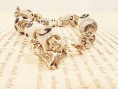 White, Black, And Silver Pandora Charm Bracelet with Bats by RainsWonderland on Etsy