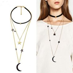 Three Layers Stars Moon Necklaces