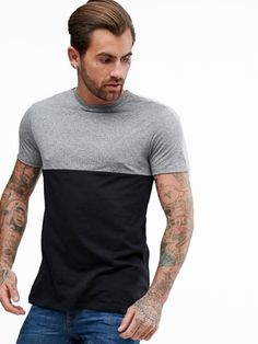 6ee987360ee Charcoal Solid Slim Fit Short Sleeve T-Shirt
