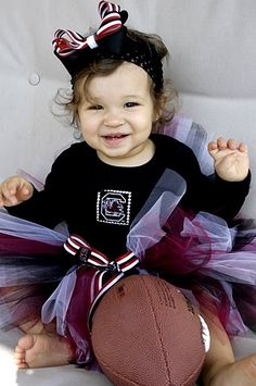 Go Gamecocks!  Garnet, white, and black tutu and top appliqued with Gamecock fabric and silver studs!