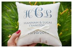 Ring bearer pillow Personalized wedding pillowInitials by Tulito