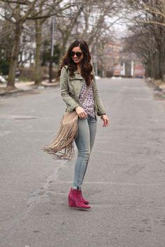 Fringe Bag, Magenta Booties & Floral Blouse