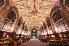 The Harper Library Reading Room, Univ. of Chicago, Chicago.  Omg look at the details on the ceiling and the walls!