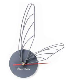 Gray Time Flies Clock   dotandbo.com