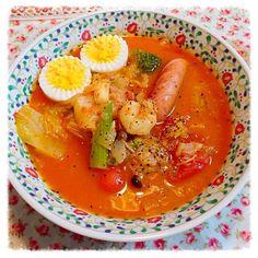 ダイエットスープにゆで卵とウインナーをトッピング✨ 痩せてやるでぇ✧*。٩(ˊᗜˋ*)و✧*。 - 12件のもぐもぐ - タイ風ダイエットスープ♪ by ✨Rita ぴょん