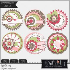 Cluster Seals Layered Templates Pack No 4, Commercial, Use, CU, Photoshop, Digital Scrapbooking, PSD, TIFF, PNG,Cluster, Seals
