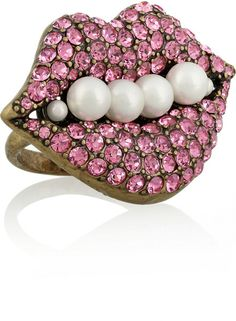 LULU FROST Pink Impromptu Gold Plated Crystal And Faux Pearl Ring  - Lyst
