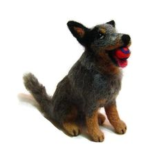 Australian Cattle dogs have wonderful markings that look great when needle felted. If you would like your own custom made cattle dog portrait sculpture , I can work with your own pet photos to create a special, one of a kind soft sculpture just for you. My technique is needle felting which takes many hours to complete.  Please see my shop for more photos of my sculptures.  https://www.etsy.com/ca/shop/DreamwoodArtDesigns  Dogs shown are samples only .  I can also make a dog similar to the…