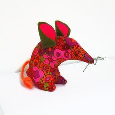 Retro Mouse Red Orange and Pink  60s 70s Floral by WittyDawnUK