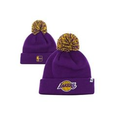 '47 Brand Los Angeles Lakers Hardwood Classics Pom Pom Cuffed Knit Hat... (24 AUD) ❤ liked on Polyvore featuring accessories