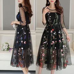 2017 Women Mesh Embroidery Floral Evening Party Wedding Cocktail Dress Ball Gown in Clothing, Shoes & Accessories, Women's Clothing, Dresses Ball Dresses, Women's Dresses, Ball Gowns, Evening Dresses, Fashion Dresses, Wedding Party Dresses, Party Wedding, Mermaid Dresses, Homecoming Dresses