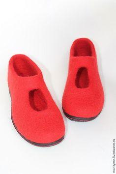"""Купить Валяные туфельки """"Акцент"""" - ярко-красный, туфли женские, валяная обувь, женская обувь"""