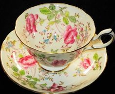 Royal Chelsea BUTTERFLY PINK ROSE Tea cup and saucer