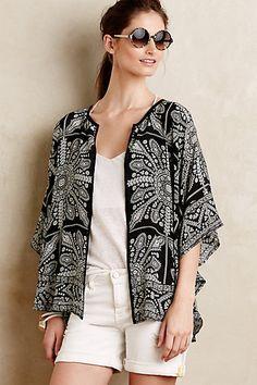 Fluttered Silk Kimono Cardigan #anthropologie