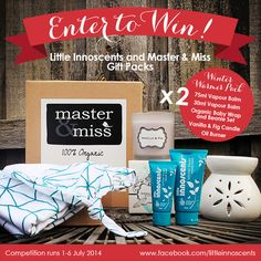Win a Winter Warmer Gift Pack from Little Innoscents and Master & Miss.  #organic #win #competition #organicbabycare #babies #babycare #organicliving Organic Living, Winter Warmers, Little Gifts, Baby Care, The Balm, Competition, Packing, Babies, Amp