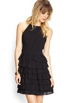 Love 21 - A woven cami dress featuring a tiered ruffled skirt and pleated waistband. Finished wit...