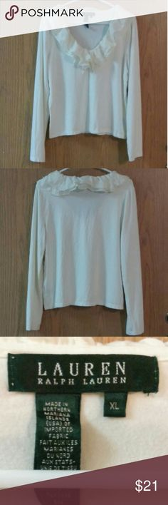 "Lauren Ralph Lauren Ruffled Sweater Sz. XL Fits L Cream/ivory long-sleeve sweater with ruffling around the neck.  Shoulder to hem measures 22"".  Side to side at armpit measures 20"".  Tagged as XL but more like a Large per measurements.  Hit that offer button ladies! Reasonable offers accepted ;) 20% off the top goes to Poshmark fees. Happy Poshing! Lauren Ralph Lauren Sweaters V-Necks"