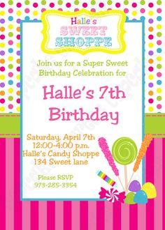Candy Shoppe Birthday party Invitations
