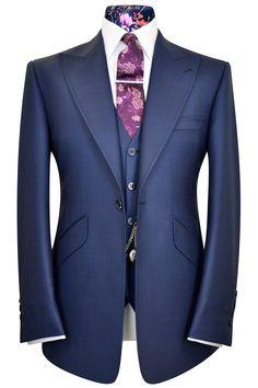 Oxford blue double plain three piece peak lapel suit with pink floral bouquet pattern