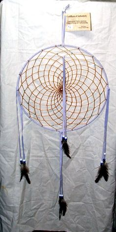 """Native American made Dreamcatcher Navajo Large 12"""" One very large hoop dreamcatcher. Well woven. Lavander colored leather. Glass crow beads and natural domestic fowl feathers. Nice accent piece for any room. $49.95 w/ free shipping. #dreamcatcher #nativeamerican"""