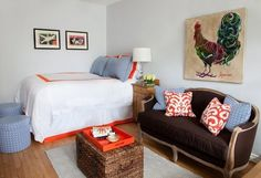 Okay, so I like white bedspread with an orange geometric boarder. A Small & Stylish 350 Square Foot Studio — Professional Project