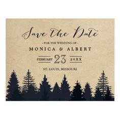 Winter Wedding Save the Date Cards Rustic Kraft Pine Trees Forest Save the Date Postcard