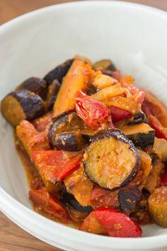 with creamy eggplant, velvety kabocha (Asian variety of winter squash ...
