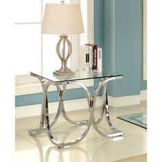 Shining chrome framework will surely catch the eye while providing sturdy support. The curved metal legs add graceful style while upholding the smooth tempered glass top.