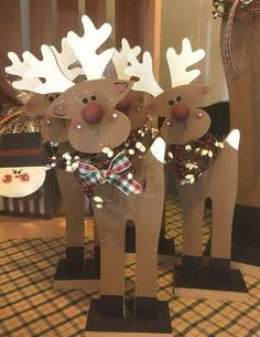 Standing Rudolph New for 2017 and already a huge favorite. 12 (approx) standing Rudy is just about perfect anywhere in your home or as a gift! Great on a shelf, table, windowsill, mantle, countert Recycled Christmas Decorations, Christmas Wood Crafts, Christmas Yard, Office Christmas, Outdoor Christmas, Xmas Decorations, Christmas Projects, Holiday Crafts, Christmas Ornaments