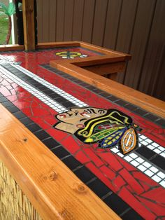 Create the Perfect Bar in Your Own Home Today - Man Cave Home Bar Hockey Crafts, Hockey Decor, Blackhawks Hockey, Chicago Blackhawks, Chicago Bears, Mosaic Art, Mosaic Tiles, Hockey Bedroom, Man Cave Bar