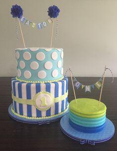 Lime green, teal, and royal blue 1st birthday cake and smash cake