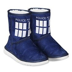Doctor Who Women's Navy TARDIS Boot Slippers (Size 8) *** Check out the image by visiting the link.
