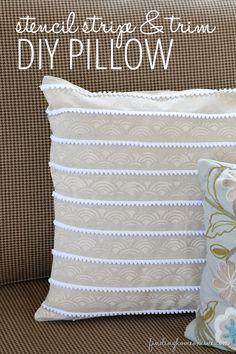 How To DIY A Pillow - Stencil and pom pom trim striped pillow