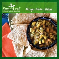 Our Mango-Melon Salsa is amazing! Its the perfect combination of sweet and spicy! | SweetLeaf Stevia | Featured SweetLeaf Recipes | #sweetleafstevia #stevia #recipes #sugarfree