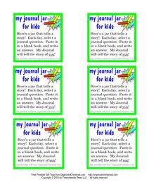 Child's Journal in a Jar: Printable Journaling Prompts | Organized Christmas