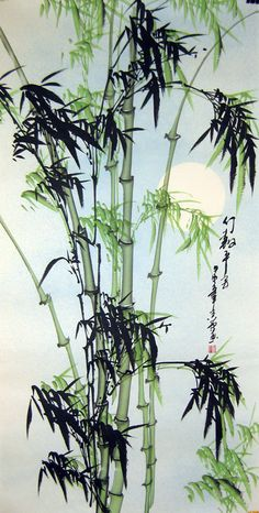Chinese bamboo paintings - Green Bamboo (inspiration for line drawing accents) Chinese Artwork, Japanese Artwork, Japanese Painting, Chinese Painting Flowers, Bamboo Drawing, Bamboo Art, Japanese Watercolor, Watercolor Art, Image Japon