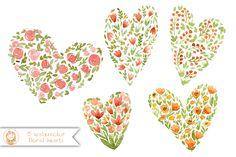 Watercolor Hearts by swiejko on Creative Market