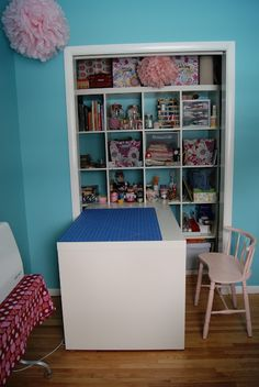 Fabric Storage Idea: put shelves and cubbies in the closet! (Remove the doors? Add curtains?)