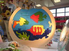 Puzzle en bois,Aquarium et poissons ludique et en bois local : Jeux, jouets par boisdeveil