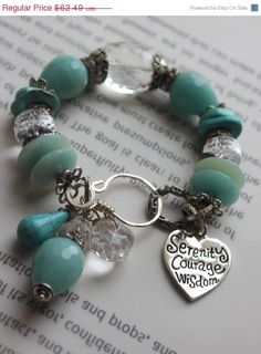 ON SALE chunky bracelet heart bracelet calchadony by soulfuledges, $49.99