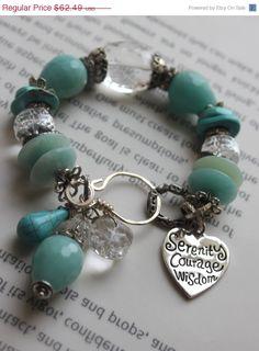 ON SALE chunky bracelet heart bracelet calchadony by soulfuledges, $49.99